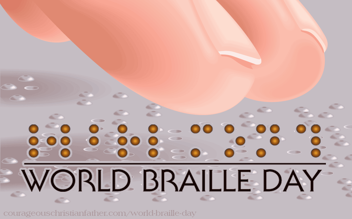 World Braille Day - A day to honor the way blind and visual impaired people can read. Braille uses a series of bump dots to use for letters and numbers, so that the blind and visual impaired can read. #BrailleDay