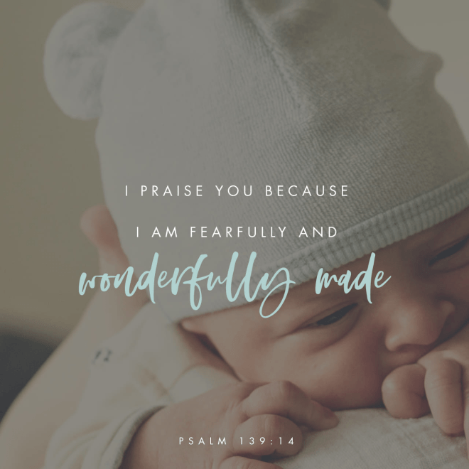 """VOTD March 20 - """"For You formed my inward parts; You wove me in my mother's womb. I will give thanks to You, for I am fearfully and wonderfully made; Wonderful are Your works, And my soul knows it very well."""" Psalms 139:13-14 NASB"""