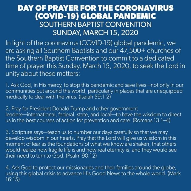 SBC Leadership Calls For Day Of Prayer Against COVID-19 Coronavirus - It is scheduled for March 15, 2020. #Coronavirus #COVID19 #DayofPrayer