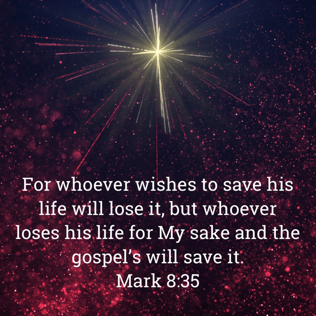 "VOTD May 2 - ""For whoever wishes to save his life will lose it, but whoever loses his life for My sake and the gospel's will save it."" Mark 8:36 NASB"