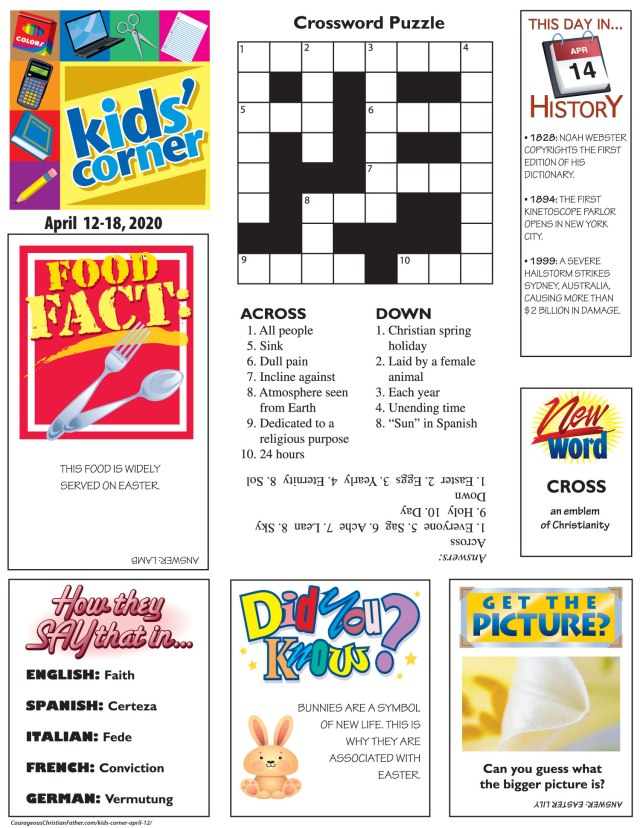 Kids' Corner April 12 - An activity sheet printable that you can print out and the children can have fun doing. #KidsCorner