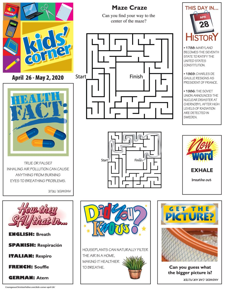 Kids' Corner April 26 - A completely free activity printable for your children to print out and enjoy. #FreePrintable #KidsCorner