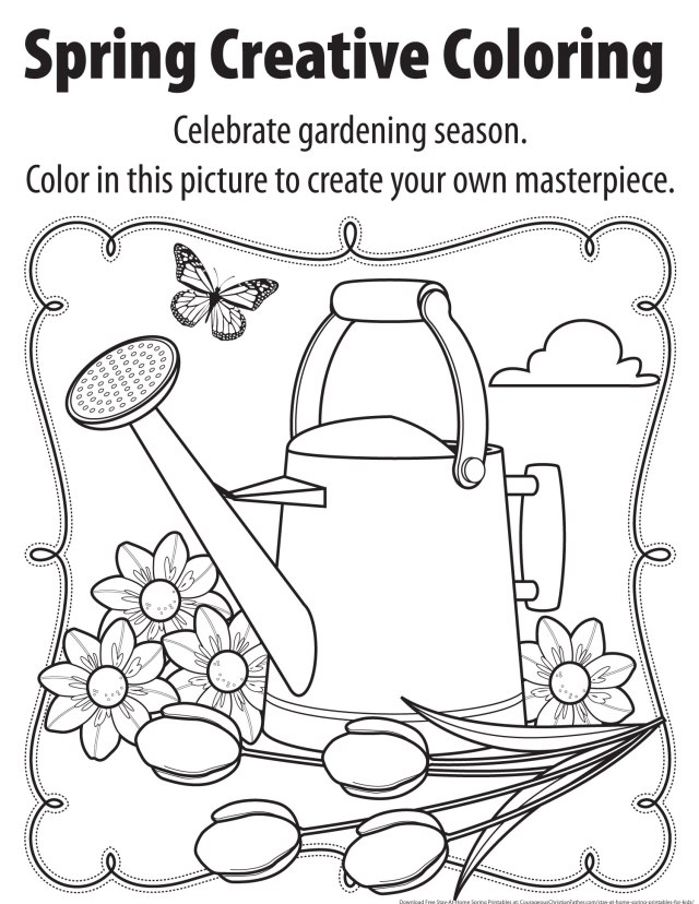 Spring Creative Coloring Printable -  Stay-At-Home Spring Printables for Kids - Here are some free printables for your children to do while they are staying at home.