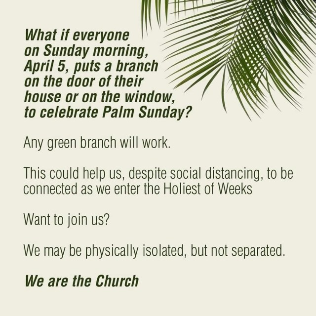 Green Branch on your door for Palm Sunday - since we are quarantined, on a stay at home or shelter at home orders due to COVID-19, here is an idea for Palm Sunday. #PalmSunday