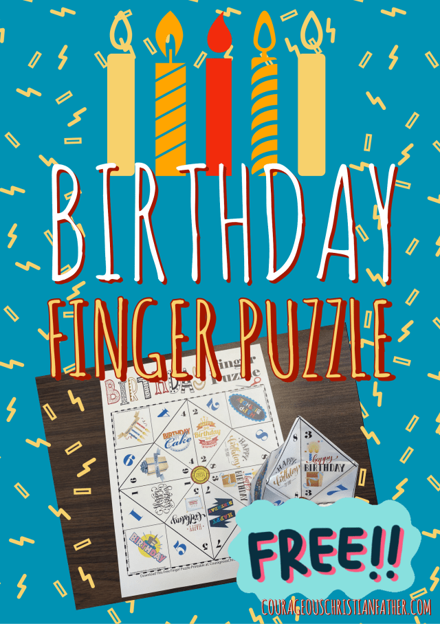 Birthday Finger Puzzle - a Free Finger Puzzle great for that birthday party. #BirthdayPrintable #Birthday #FingerPuzzle (Birthday Cootie Catcher)