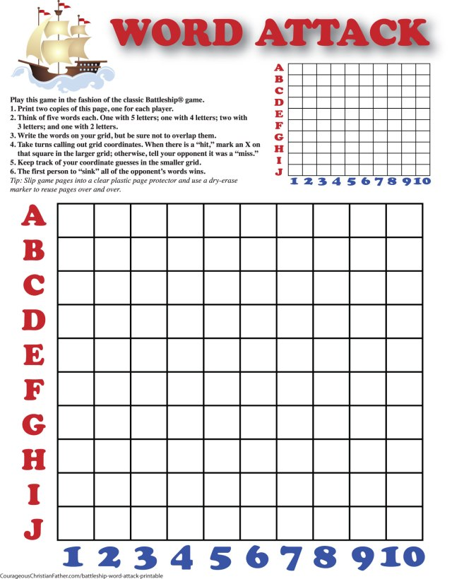 Battleship Word Attack Printable - a Free word attack printable plays like the classic Battleship game.