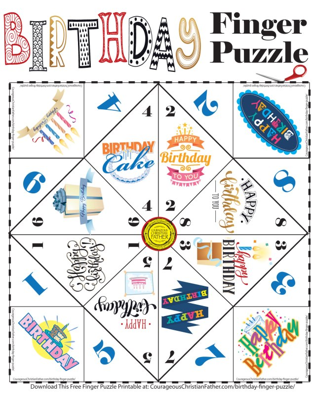 Birthday Finger Puzzle - a Free Finger Puzzle great for that birthday party. #BirthdayPrintable #Birthday #FingerPuzzle