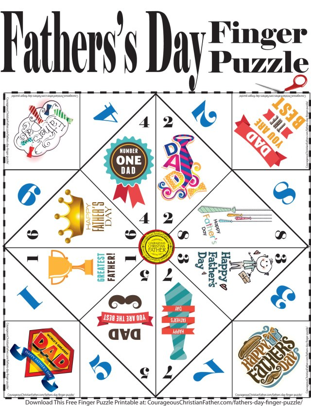 Father's Day Finger Puzzle Printable - Here is a free finger puzzle printable for Father's Day. #FathersDay