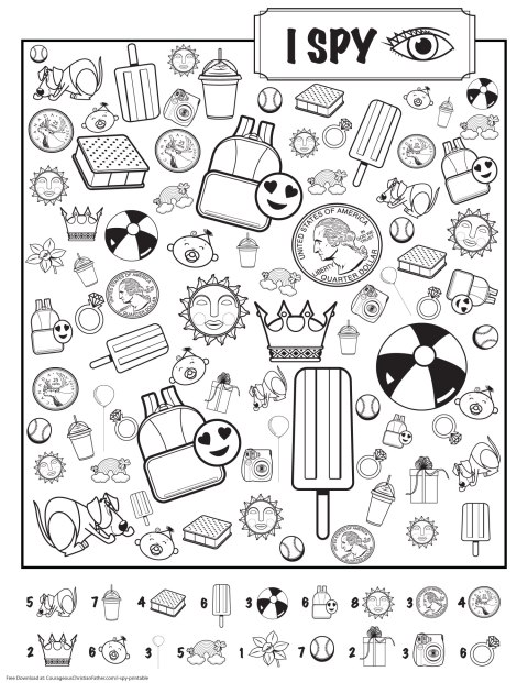 I Spy Printable - A Free I Spy printable for the kids. Just print and let the kids find the images in the printable. #ISpy