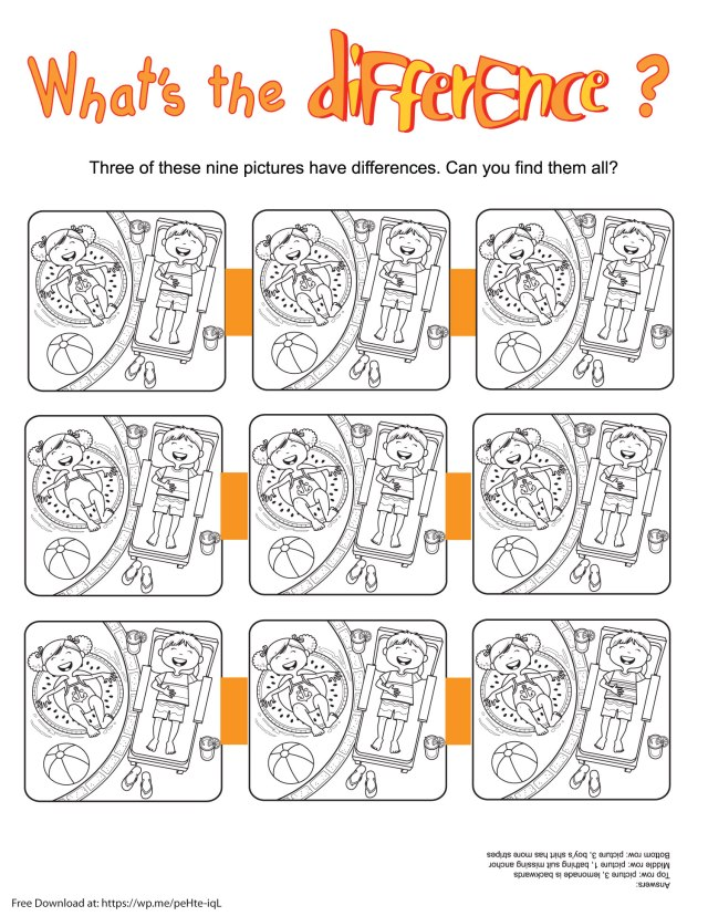 What's the Difference Printable - a free printable for your child to print out and find what is different.