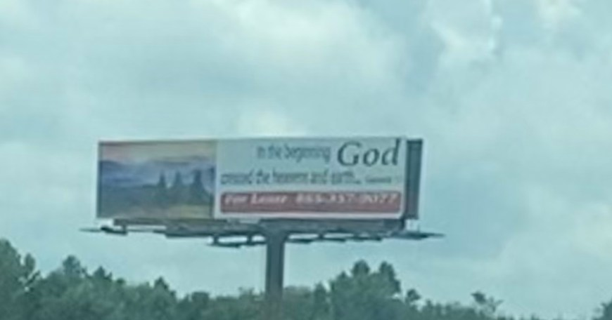 In the Beginning God billboard - Here is a faith-based billboard in the Greeneville, TN area about the creation.