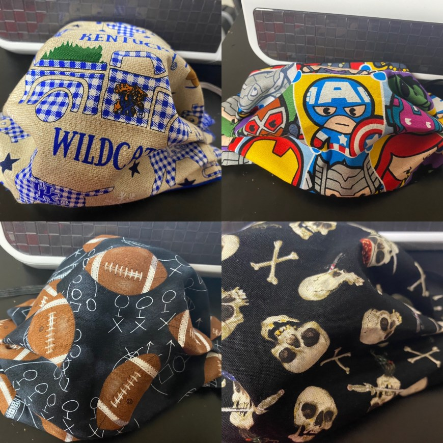 more face mask designs (Kentucky Wildcats, Captain America (Avengers), Football and Pirate Skulls)