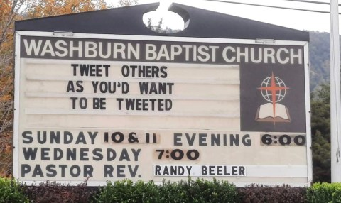 Tweet Others Church Sign - This week's Church Sign Saturday takes us to Washburn, TN. #TweetOthers #ChurchSign Washburn Baptist Church - Tweet Others Ad You'd Want To Be Tweeted. Photo Credit: Heather Patterson