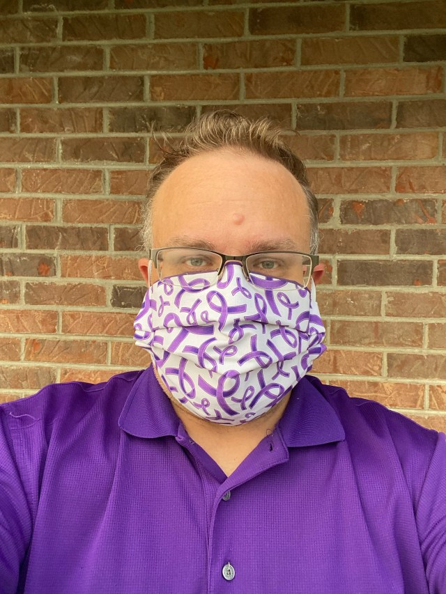Wear Purple for Domestic Violence Awareness Day - This day is to raise awareness of domestic, spousal and dating violence (Purple Thursday). #PurpleThurday Wearing Purple Ribbon Face Mask from SteveZMaskZ