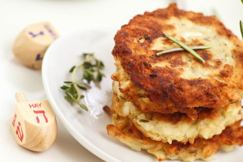 "Serve potato pancakes for holiday celebrations - Enjoy this recipe for ""Latkes,"" courtesy of AllRecipes.com. #PotatoCakes #Latkes"