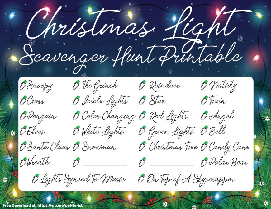 Christmas Light Scavenger Hunt Printable - A FREE cool printable that you can print out and give to your family and go out looking at Christmas lights. #ChristmasPrintable #ChristmasLightScavengerHunt