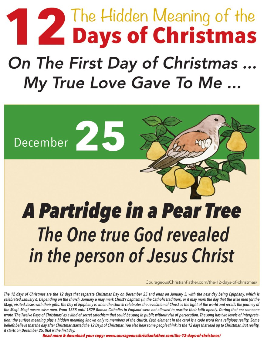 1st Day of Christmas Hidden Meaning Printable
