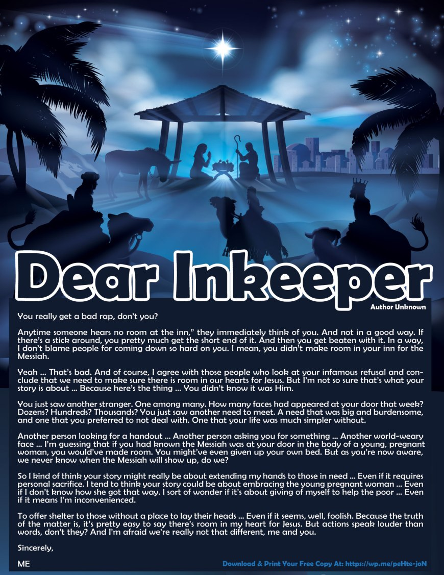 Dear Innkeeper - A Letter to the Innkeeper who didn't make room for Jesus. Also includes a Free Printable Version! #DearInnKeeper