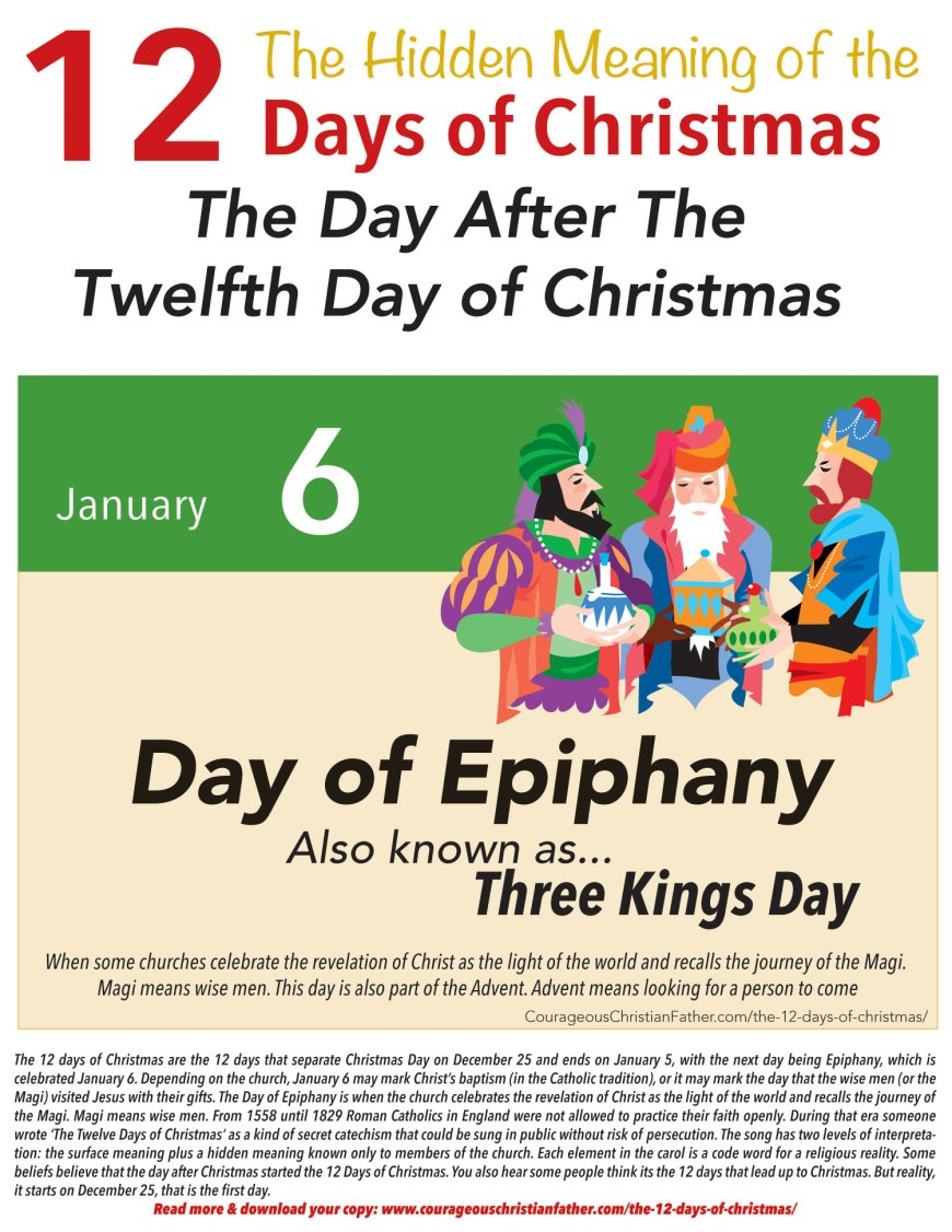 Epiphany is celebrated on January 6 the day after the end of the 12 Days of Christmas. Also known as Three Kings Day. #DayofEpiphany #ThreeKingsDay