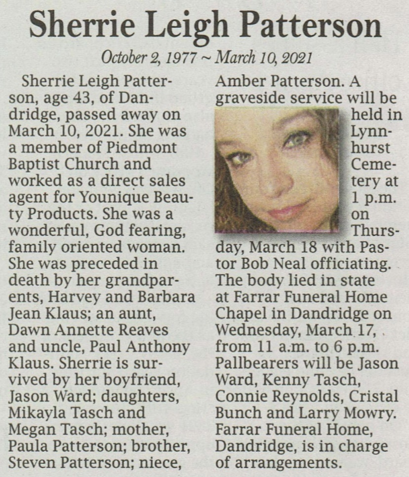 Sherrie Leigh Patterson's Obit