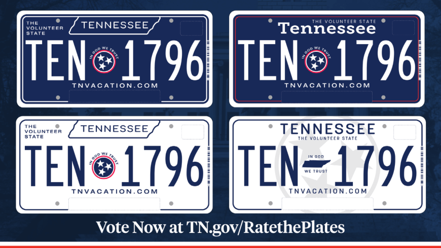 Rate the Plates: Gov. Lee Invites Tennesseans to Pick New License Plate Design - here is your chance to vote for the new Tennessee state license plate. #Tennessee #TennesseeLicensePlate