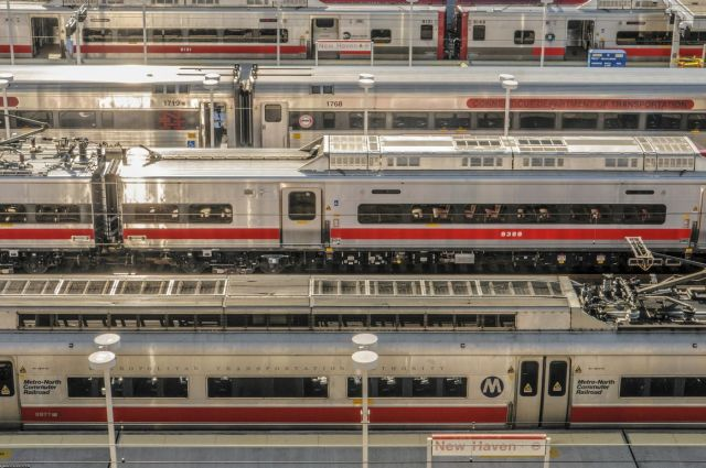 New and old Metro-North train cars wait on lines at New Haven's Union Station.