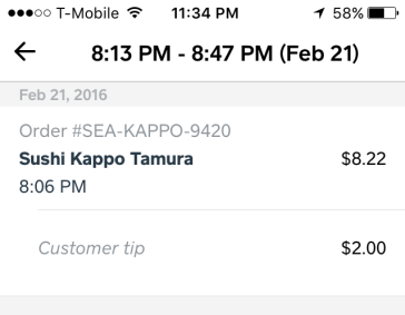 Tip from Caviar Customer for Sushi Kappo Tamura Order