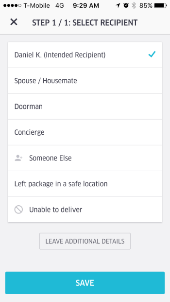 UberEats Delivery Confirmation