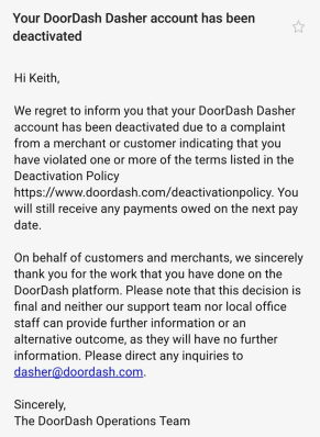 Deactivation e-mail from DoorDash