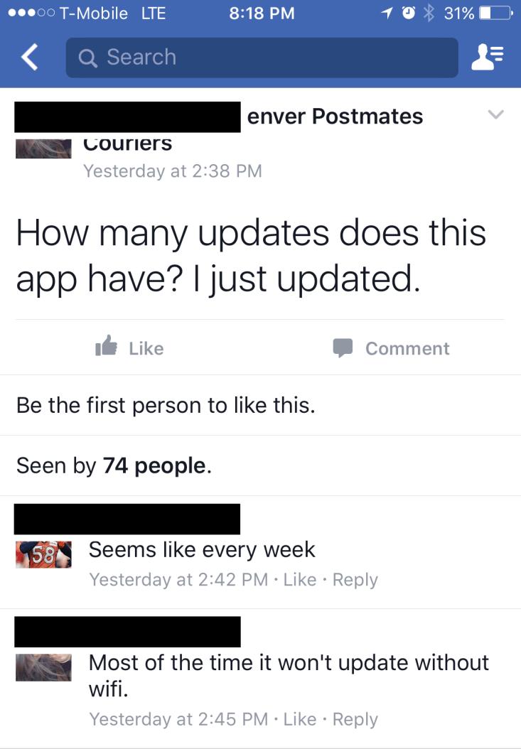 Postmates app updates