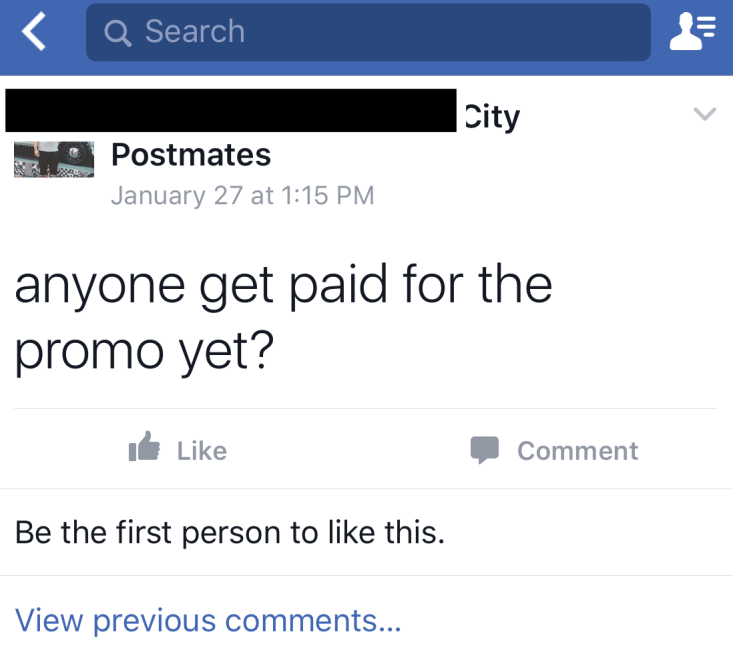 Postmates Promo payments