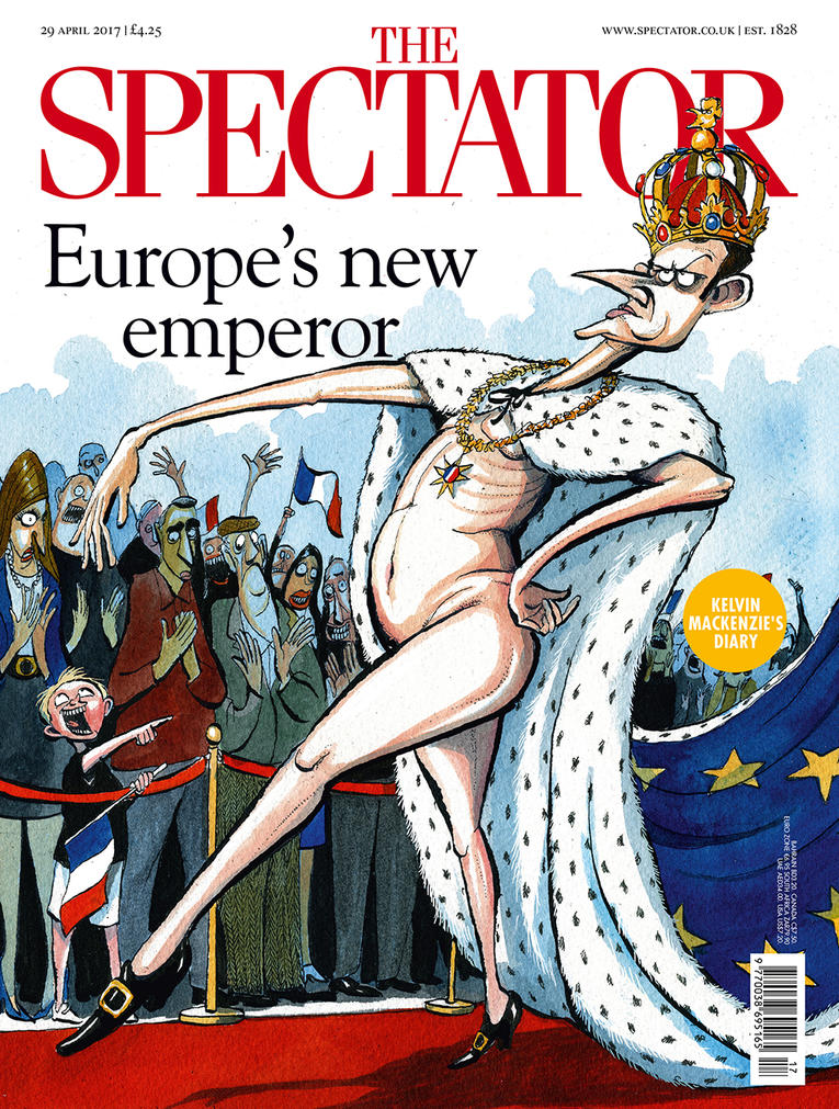 Macron cartoon in The Spectator