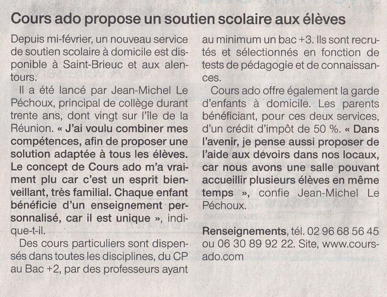 Article Ouest France, du soutien scolaire à St-Brieuc