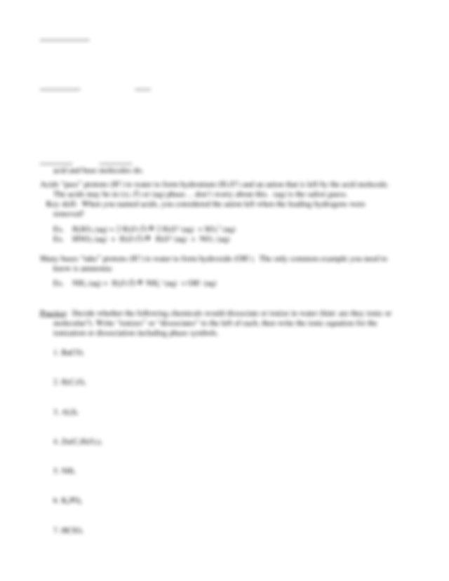 Dissociation Ionization Worksheet