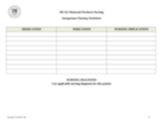 Intrapartum Charting Worksheet Cx