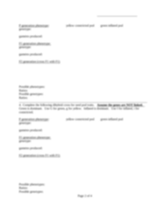 Patterns Of Inheritance Worksheet
