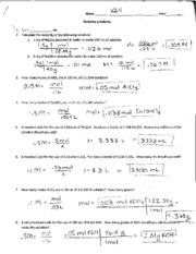 Molarity Dilution And Review Answer Key