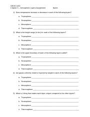 Atmosphere Worksheet