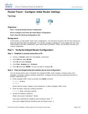 6.4.1.3 Packet Tracer - Configure Initial Router Settings ...
