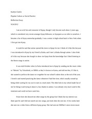 5 Pages Reflection Essay On Kpop