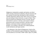 The indigenous languages of the americas. Cobo_indigenous_definition.docx - Zook Human Rights Course ...
