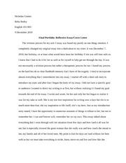 Final Portfolio Reflective Essay Cover Letter Nicholas Gomez Reba Bailey English 101 003 9 December 2010 Final Portfolio Reflective Essay Cover Letter Course Hero