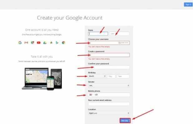 إنشاء حساب جيميل Gmail جديد من الكمبيوتر 2