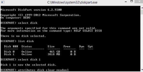 أسباب مشكله the disk is write protected