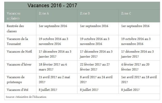 dates des vacances scolaires 2016 2017