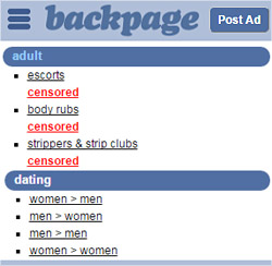 Backpage shut down adult ads women seeking men