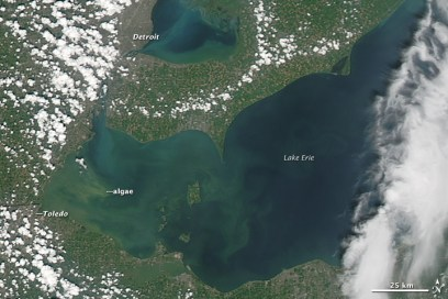 "The second image shows a closer view of the west end of Lake Erie, as observed on Aug. 1, 2014, by the Operational Land Imager on the Landsat 8 satellite. The OLI image includes a special ""coastal blue"" wavelength band that allows scientists to adjust for visual distortions caused by the atmosphere near the coast."