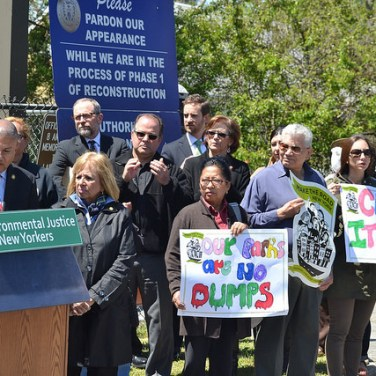New Yorkers gather on May 4, 2017, at press conference on making polluters pay for toxic dumping at a Long Island park named for Roberto Clemente. (Flickr via Courthouse News)