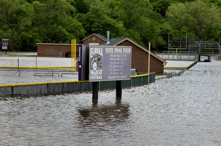 Floodwater from the Meramec River covers some athletic fields at Eureka High School on Monday, May 1, 2017. During the January 2016 flood Meramec River floodwater encroached on the school's buildings and ruined the gym floor. School employees are sandbagging around the building to try and keep the water out this time. Photo by David Carson, dcarson@post-dispatch.co