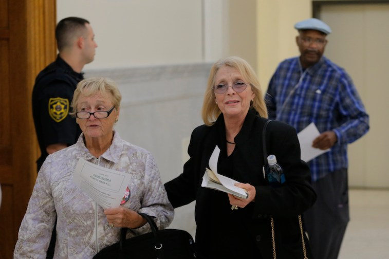 Victoria Valentino, at right, arrives for the fifth day of Bill Cosby's sexual-assault trial at the Montgomery County Courthouse in Norristown, Pennsylvania, on June 9, 2017. Valentino is one of dozens of women who claims to have been assaulted by Cosby but whose claims are too old to prosecute. (Pool photo via Courthouse News Service by Lucas Jackson/REUTERS)